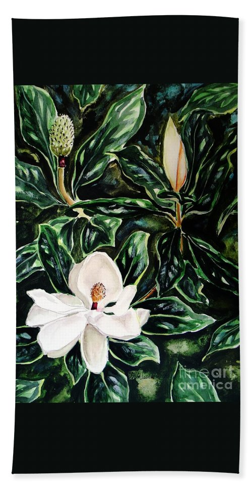 Flower Beach Towel featuring the painting Southern Magnolia Bud And Bloom by Patricia L Davidson
