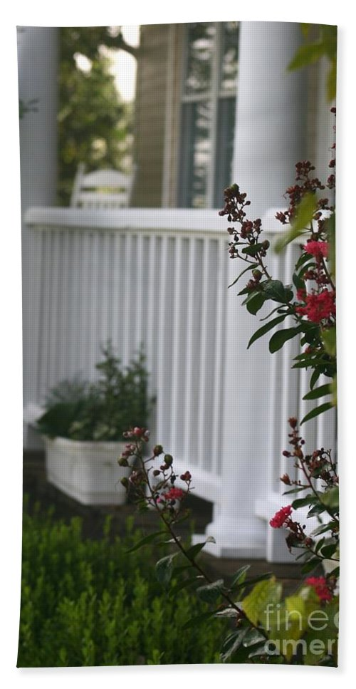 Summer Beach Towel featuring the photograph Southern Summer Flowers and Porch by Nadine Rippelmeyer