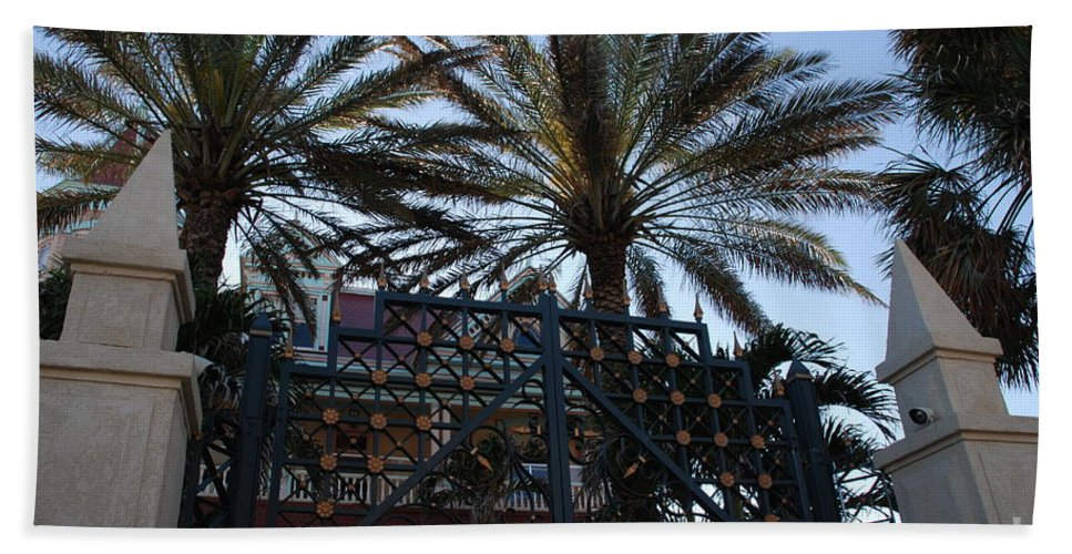 Florida Beach Towel featuring the photograph Southernmost Hotel Entrance In Key West by Susanne Van Hulst