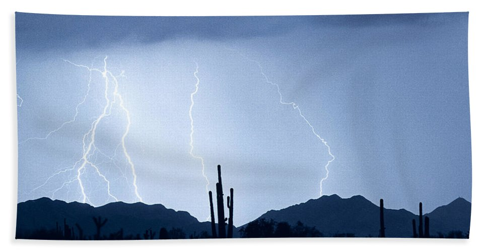 Southwest Beach Towel featuring the photograph Southwest Desert Lightning Blues by James BO Insogna