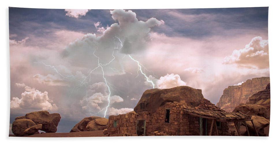 Lightning Strikes; Lightning; Nature; Landscapes; Southwest Desert; Rustic; Thunderstorms; Fine Art Beach Towel featuring the photograph Southwest Navajo Rock House And Lightning Strikes by James BO Insogna