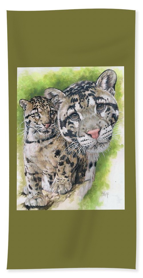 Clouded Leopard Beach Towel featuring the mixed media Sovereignty by Barbara Keith