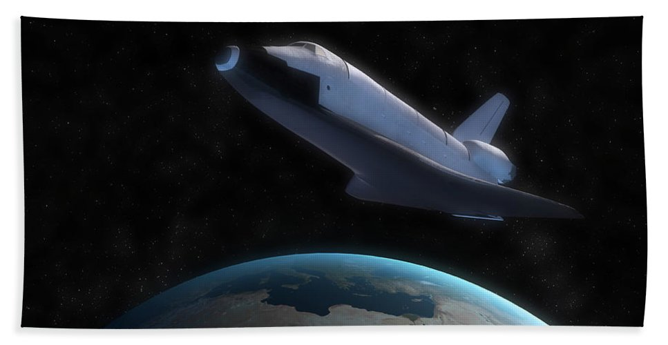 Horizontal Beach Towel featuring the digital art Space Shuttle Backdropped Against Earth by Carbon Lotus