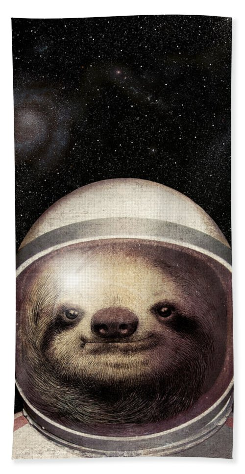 Sloth Beach Towel featuring the drawing Space Sloth by Eric Fan