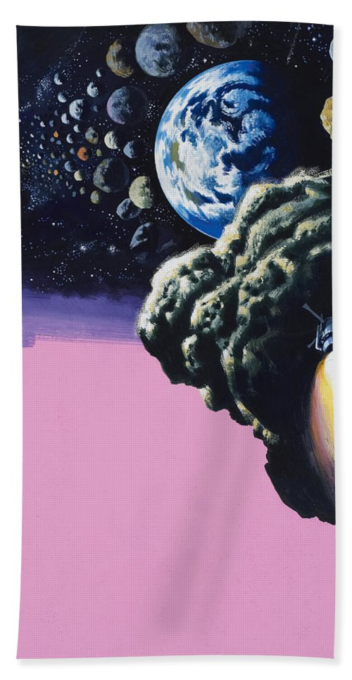 Space;rockets;space Ship;meteorites;planets Beach Towel featuring the painting Space by Wilf Hardy