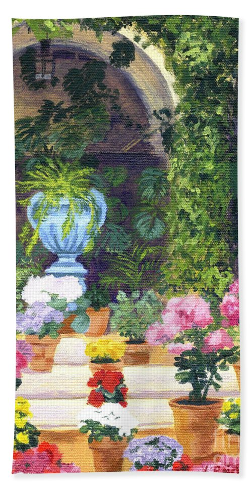 Acrylic Beach Towel featuring the painting Spanish Courtyard by Lynne Reichhart