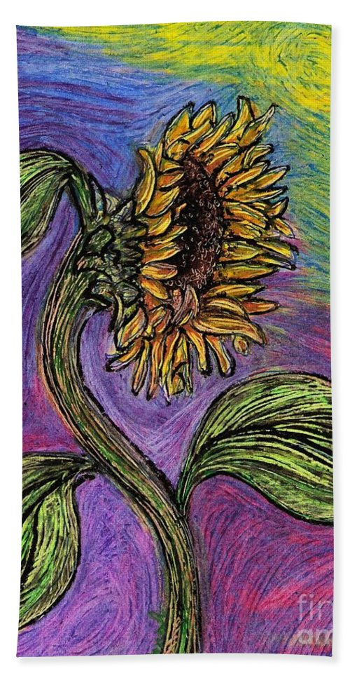 Sunflower Beach Towel featuring the pastel Spanish Sunflower by Sarah Loft