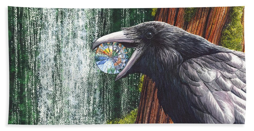 Raven Beach Towel featuring the painting Sparkle by Catherine G McElroy