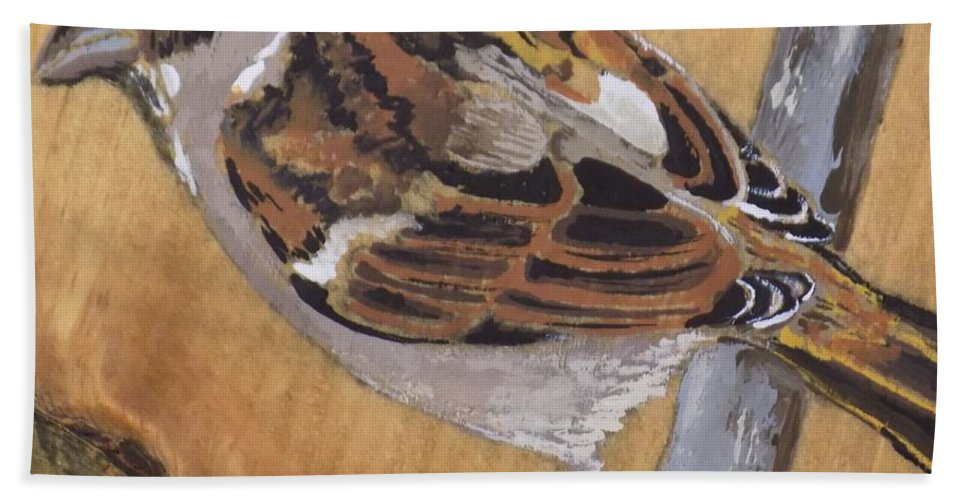 Bird Beach Towel featuring the painting Sparrow 1 by Paul Bashore