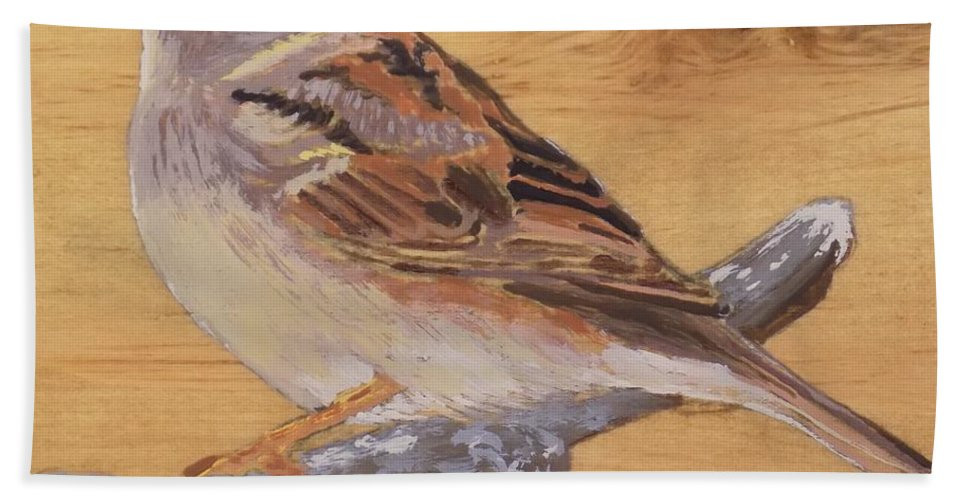 Bird Beach Towel featuring the painting Sparrow 2 by Paul Bashore