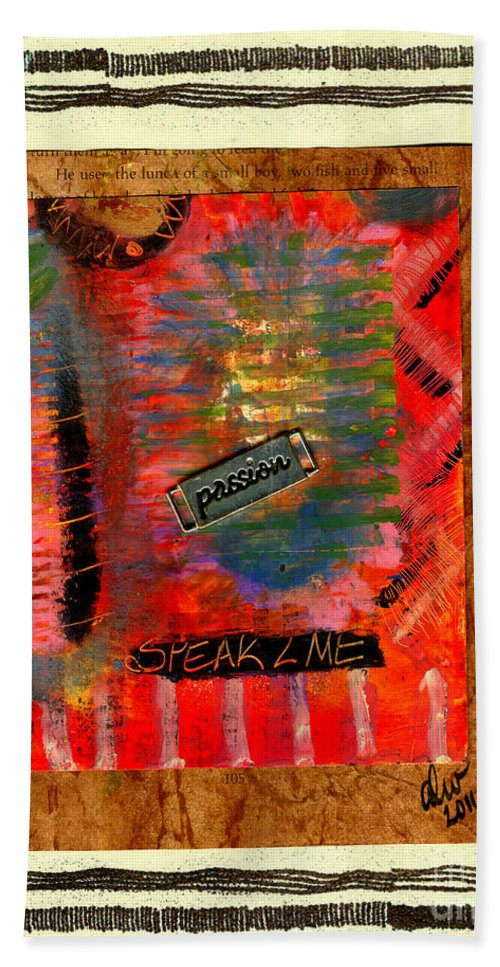 Gretting Cards Beach Towel featuring the mixed media Speak 2 Me by Angela L Walker