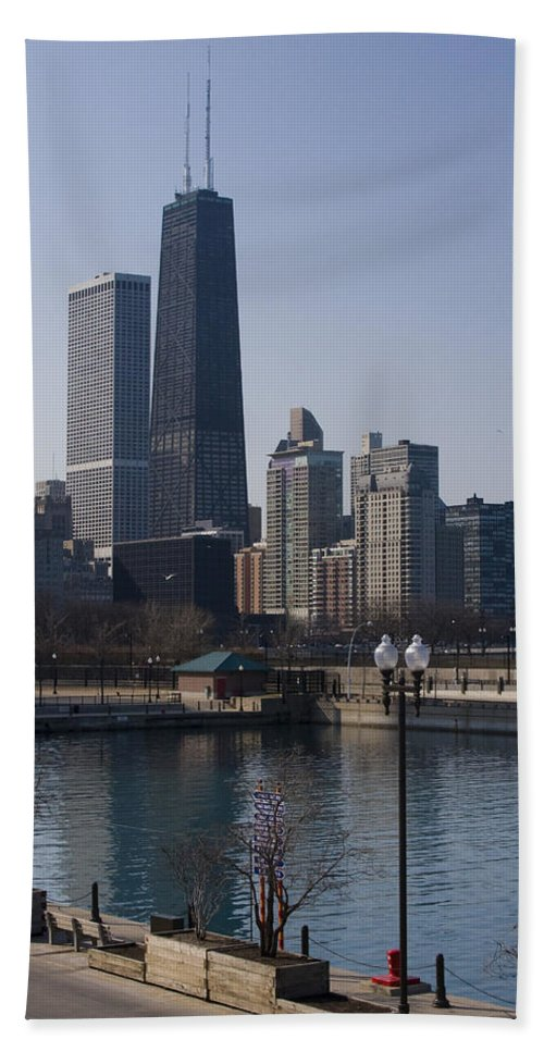 Chicago Windy City Skyline Building Skyscraper Water Lake Michigan Blue Sky Beach Towel featuring the photograph Special Moment by Andrei Shliakhau