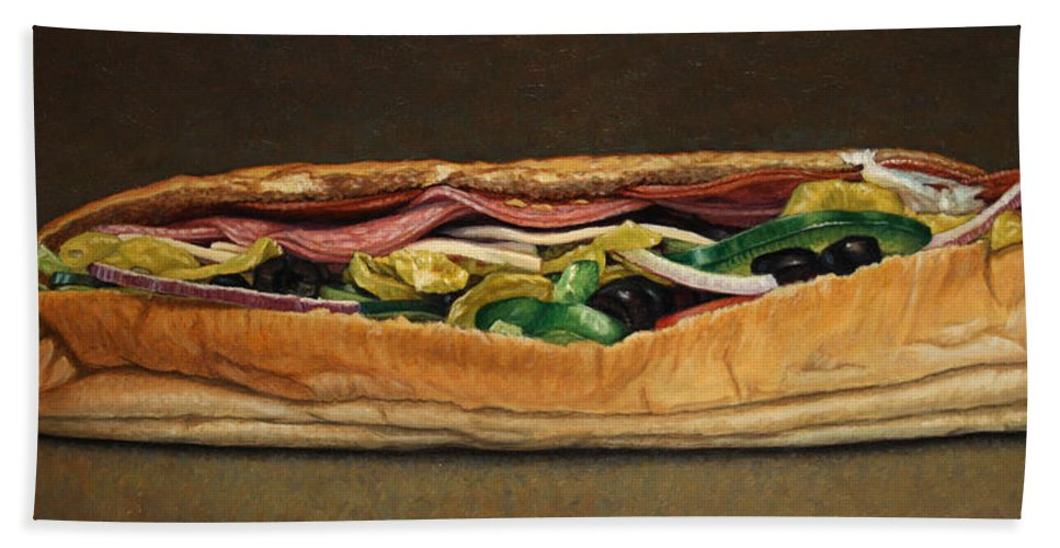Sandwich Beach Towel featuring the painting Spicy Italian by James W Johnson