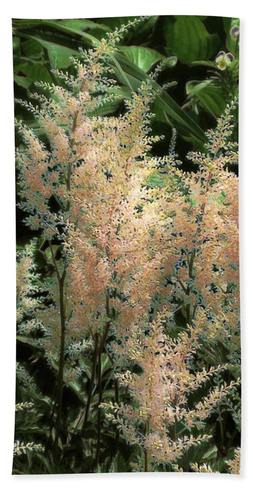 Astilbe Beach Towel featuring the painting Spikes Sunkissed by RC DeWinter