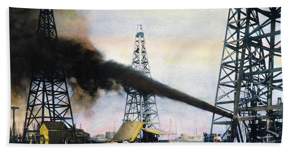 1906 Beach Towel featuring the photograph Spindletop Oil Pool, C1906 by Granger