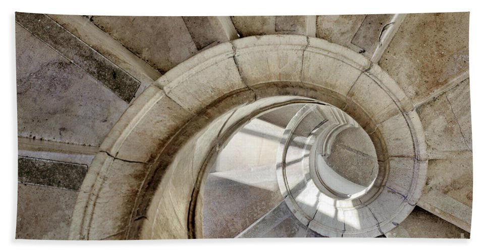 Abstract Beach Towel featuring the photograph Spiral Stairway by Carlos Caetano