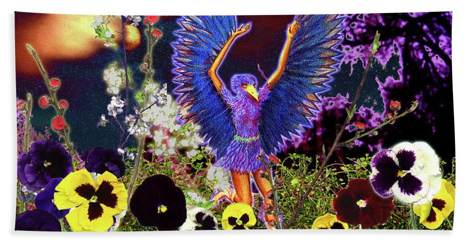 Spiritual Beach Towel featuring the painting Spirit Guide by Miko At The Love Art Shop