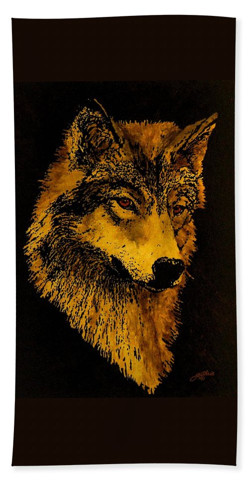 Wolf Beach Towel featuring the painting Spirit Wolf by John Guthrie