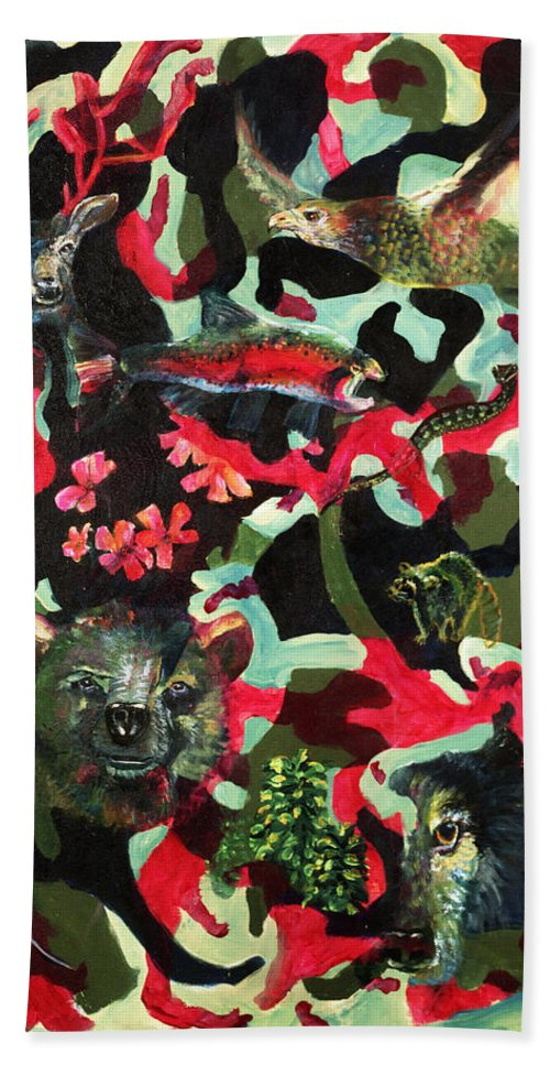 Spirits Beach Sheet featuring the painting Spirits Of The Forest by Peter Bonk