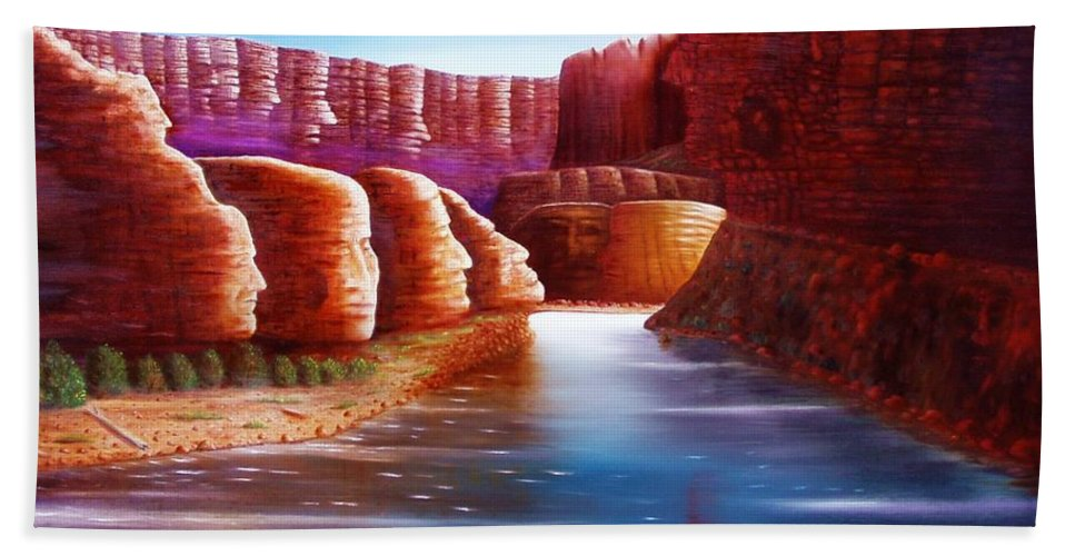 River... Images In The Rocks Beach Towel featuring the painting Spirits Of The River by Gene Gregory