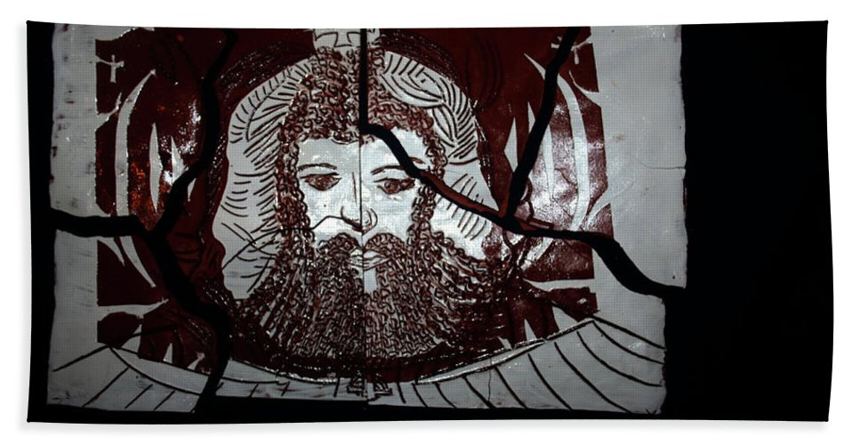 Plaquesmamamama Africa Twojesus Beach Towel featuring the ceramic art Spiritual Union 1 by Gloria Ssali