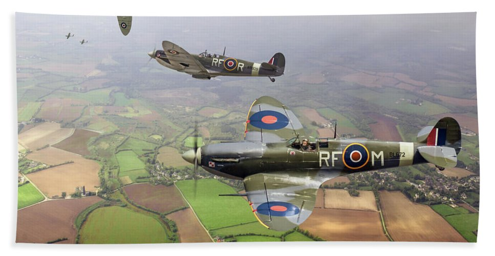 Spitfire Beach Towel featuring the photograph Spitfire Sweep Colour Version by Gary Eason