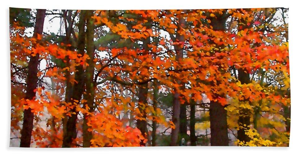 Autumn Beach Towel featuring the painting Splashes Of Autumn by Paul Sachtleben