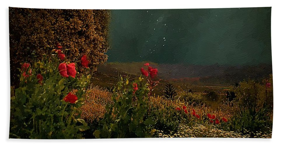 Field Beach Towel featuring the painting Splendor Under Southern Skies by RC DeWinter