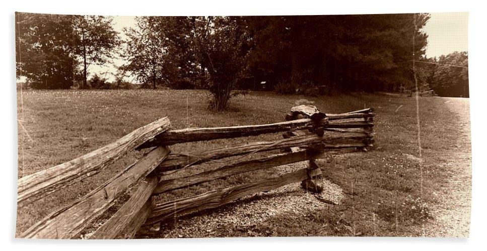 Landscape Beach Towel featuring the photograph Split Rail Fence by John Myers