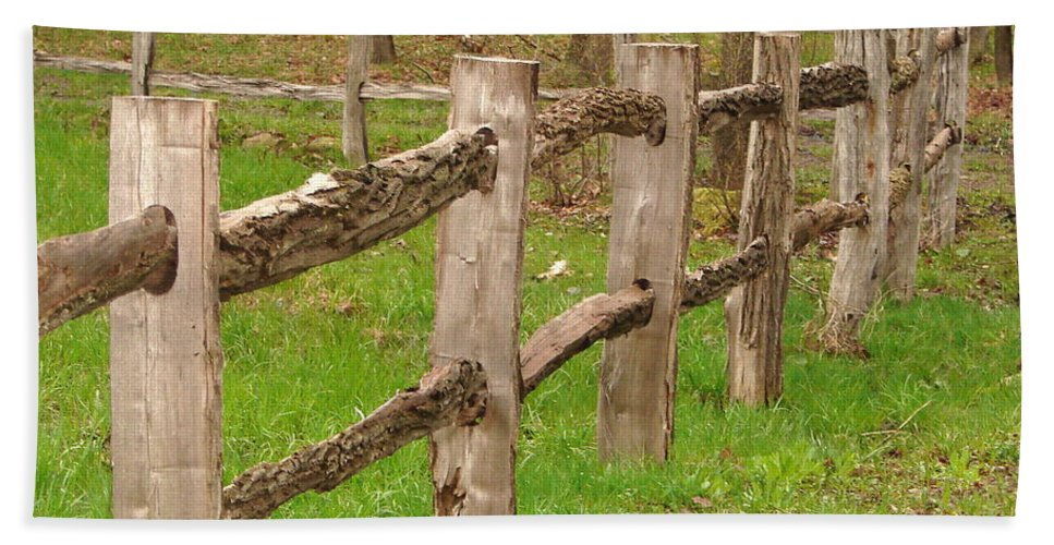 Fence Beach Towel featuring the photograph Split Rail Fence by Penny Neimiller