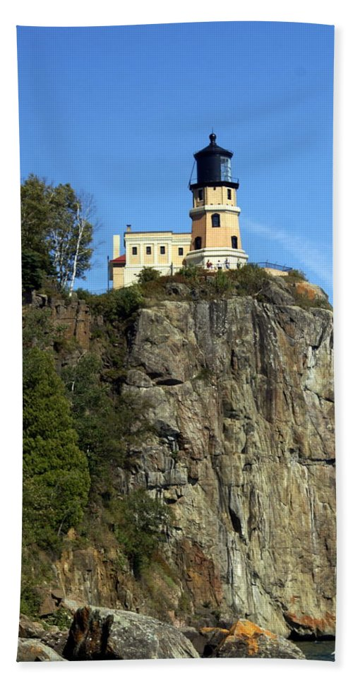 Lighthouse Beach Towel featuring the photograph Split Rock 3 by Marty Koch