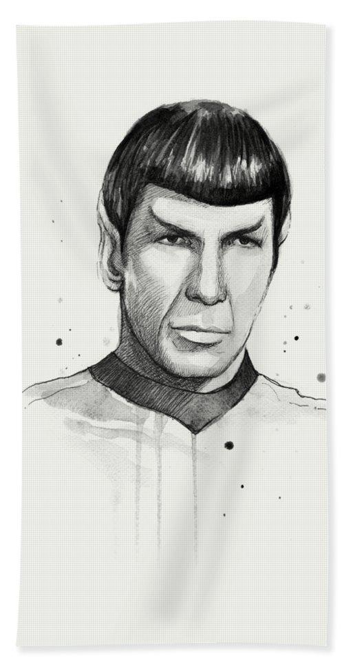 Star Trek Beach Towel featuring the painting Spock Watercolor Portrait by Olga Shvartsur