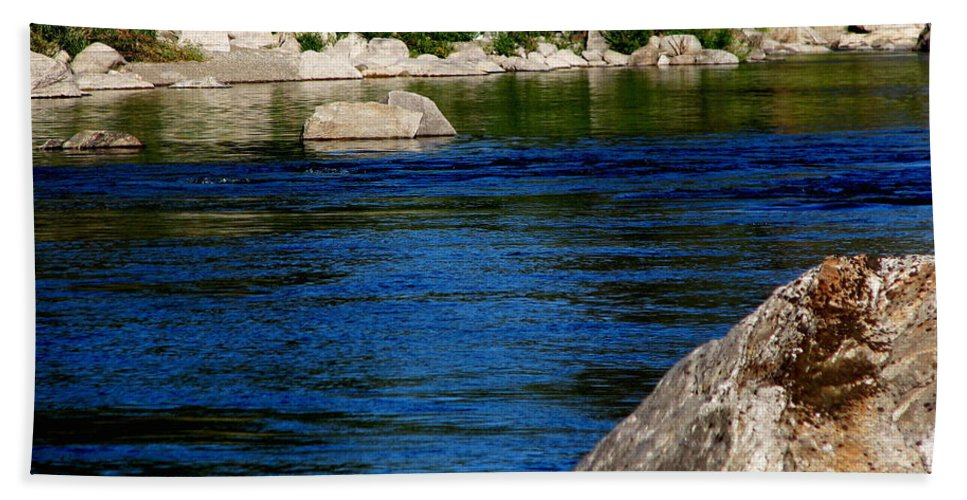 Patzer Beach Towel featuring the photograph Spokane River by Greg Patzer
