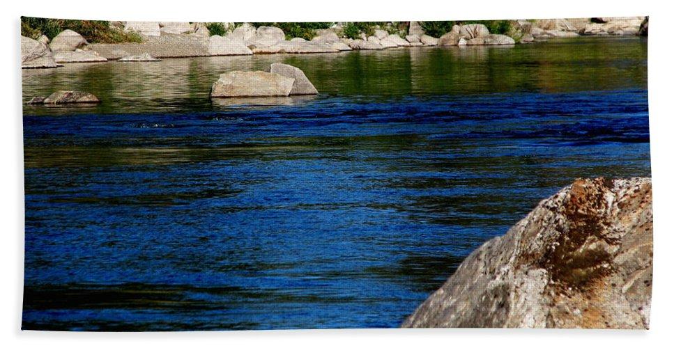 Patzer Beach Sheet featuring the photograph Spokane River by Greg Patzer