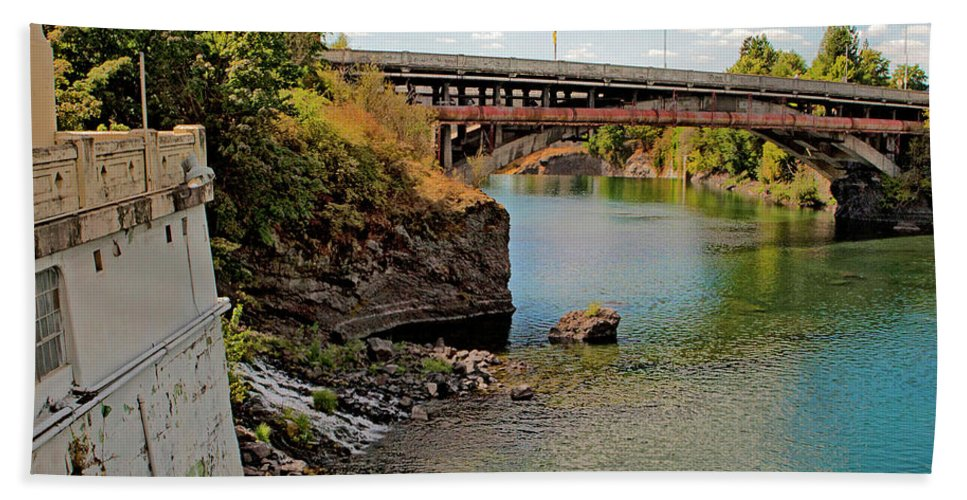 Water Beach Towel featuring the photograph Spokane River by Lee Santa