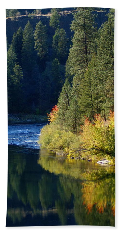 Nature Beach Towel featuring the photograph Spokane Rivereflections by Ben Upham III