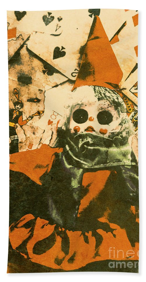 Clown Beach Towel featuring the photograph Spooky Carnival Clown Doll by Jorgo Photography - Wall Art Gallery
