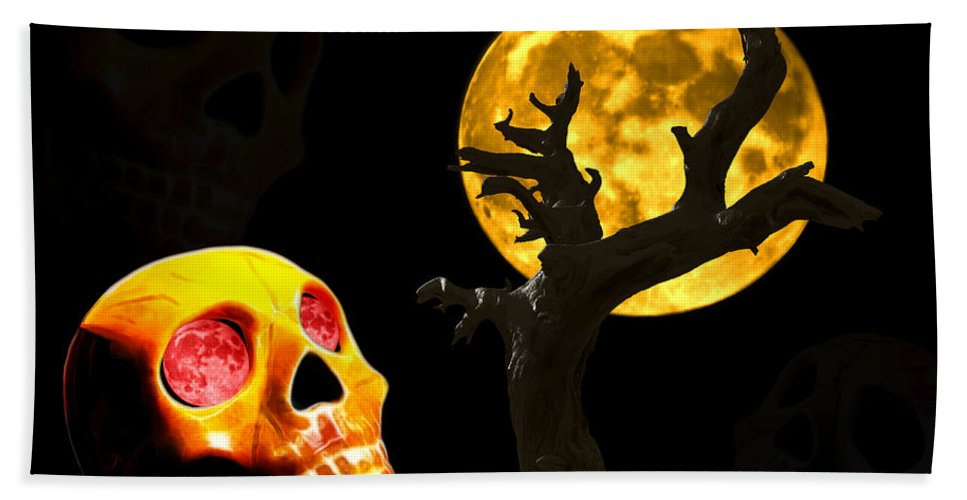 Skull Beach Towel featuring the photograph Spooky Night by Shane Bechler