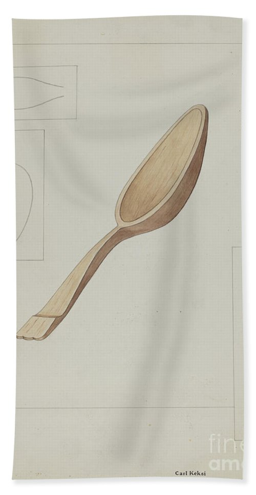 Beach Towel featuring the drawing Spoon by Carl Keksi