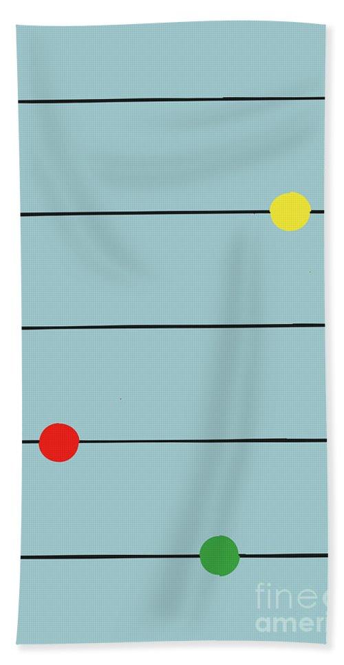 Graphic Beach Towel featuring the digital art Music Spots by Benjamin Harte