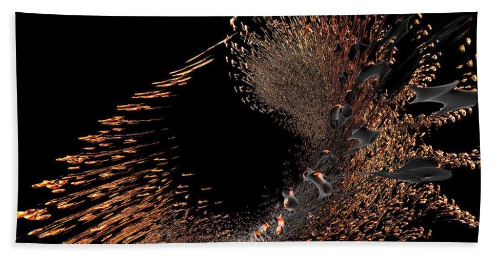 Incendia Beach Towel featuring the digital art Spray Of Gold by Deborah Benoit