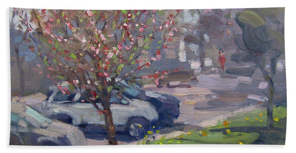 Spring Beach Towel featuring the painting Spring At Main St North Tonawanda by Ylli Haruni