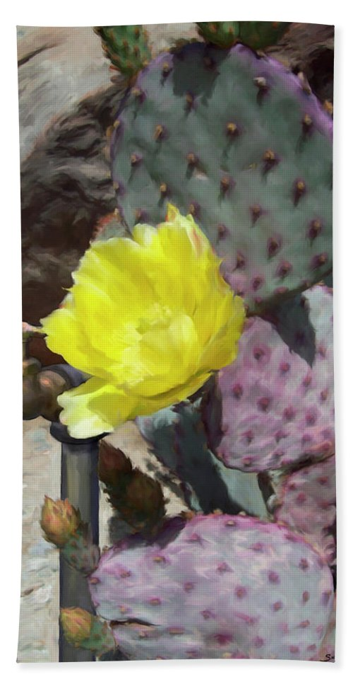 Cactus Beach Towel featuring the digital art Spring Bloom by Snake Jagger