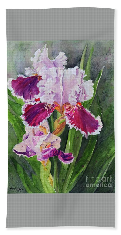 Iris Beach Towel featuring the painting Spring Blooms by Patty Strubinger