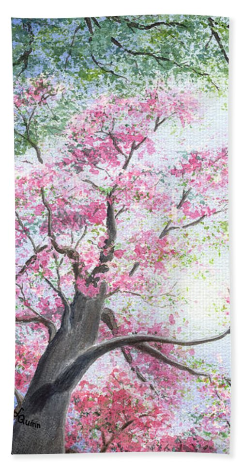 Tree Blossoms Beach Sheet featuring the painting Spring Blossoms by Lynn Quinn