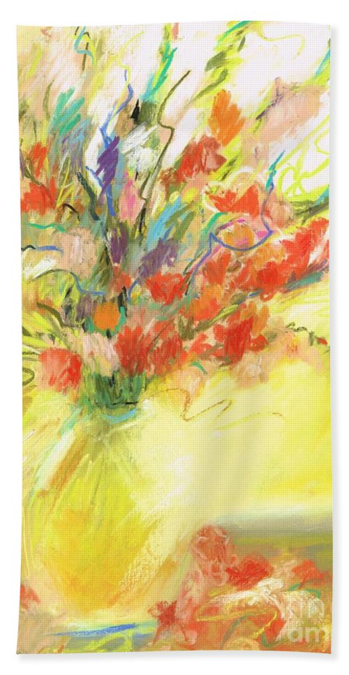Abstract Art Beach Towel featuring the pastel Spring Bouquet by Frances Marino