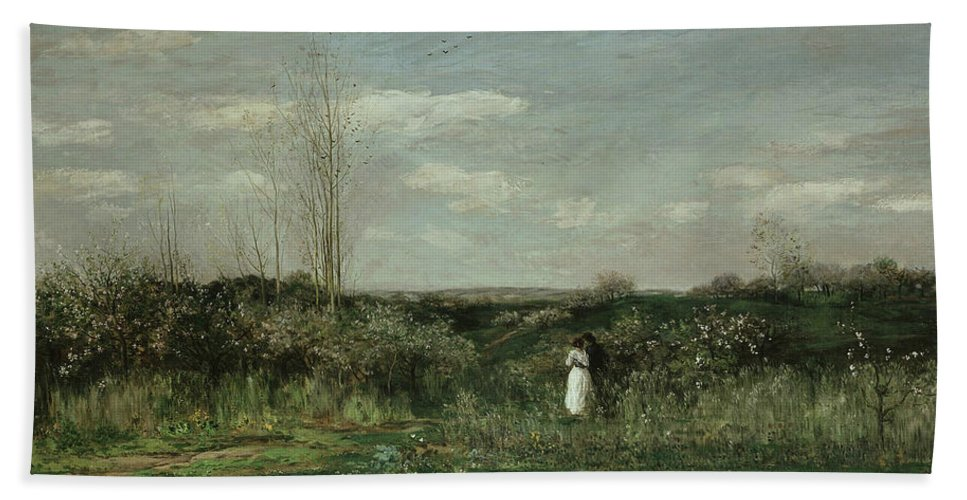French Art Beach Towel featuring the painting Spring by Charles Francois Daubigny