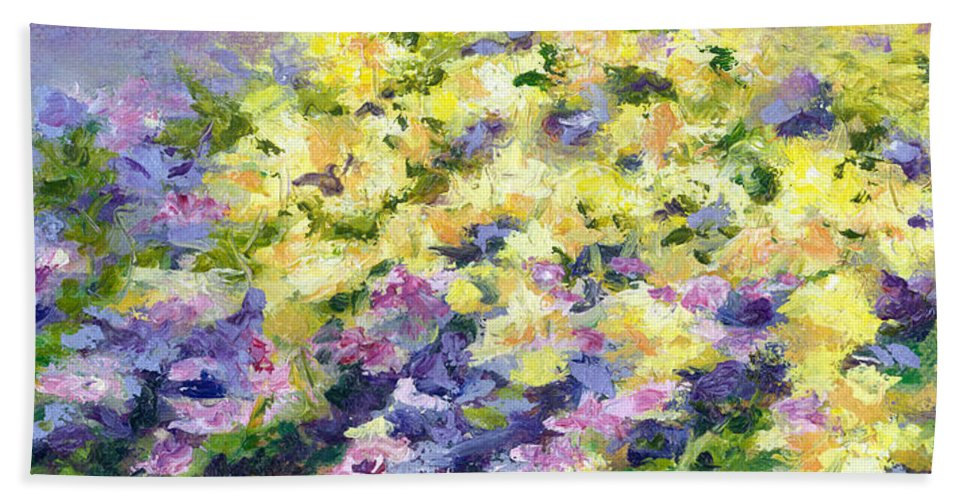 Flowers Beach Towel featuring the painting Spring Flowers by Paula Emery