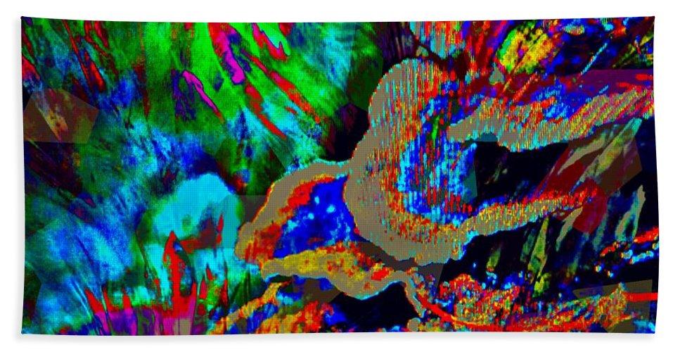 Fania Simon Beach Towel featuring the mixed media Spring Garden Festival by Fania Simon