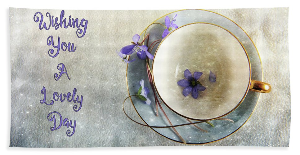 Greeting Beach Towel featuring the photograph Spring In A Cup by Randi Grace Nilsberg